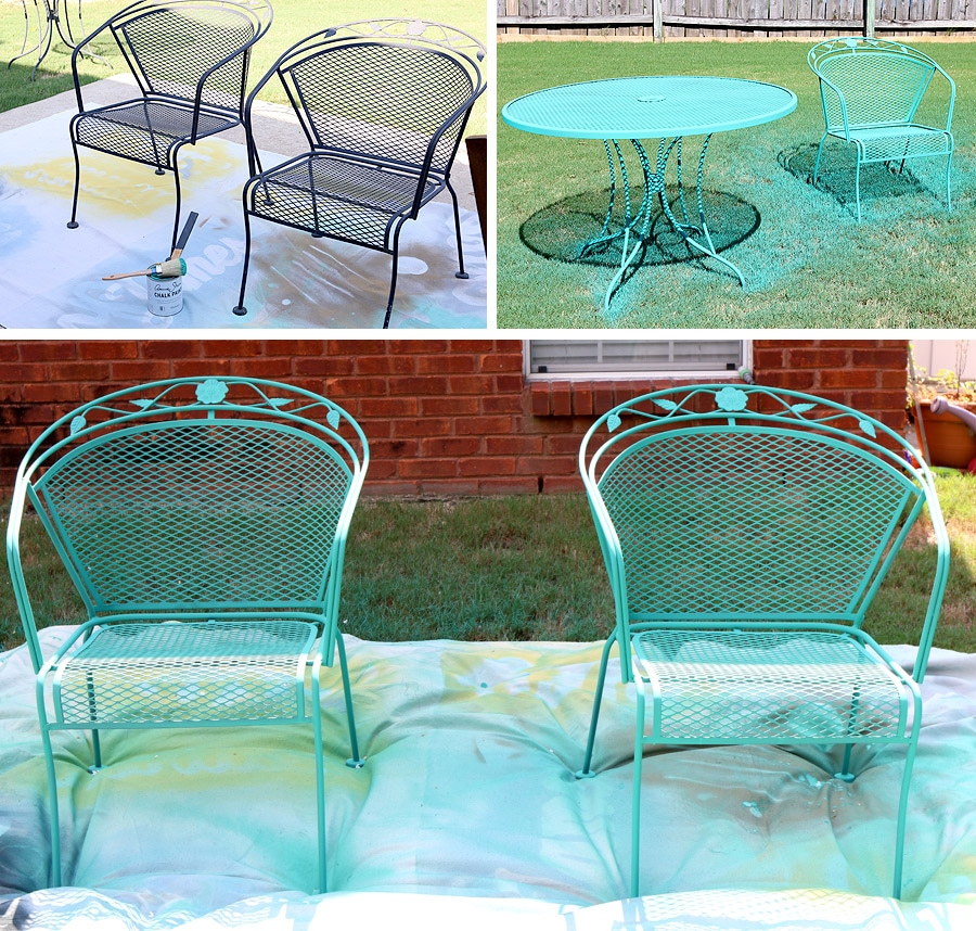 Painting Metal Furniture. How To Paint A Wrought Iron Patio Set With Chalk  Paint®