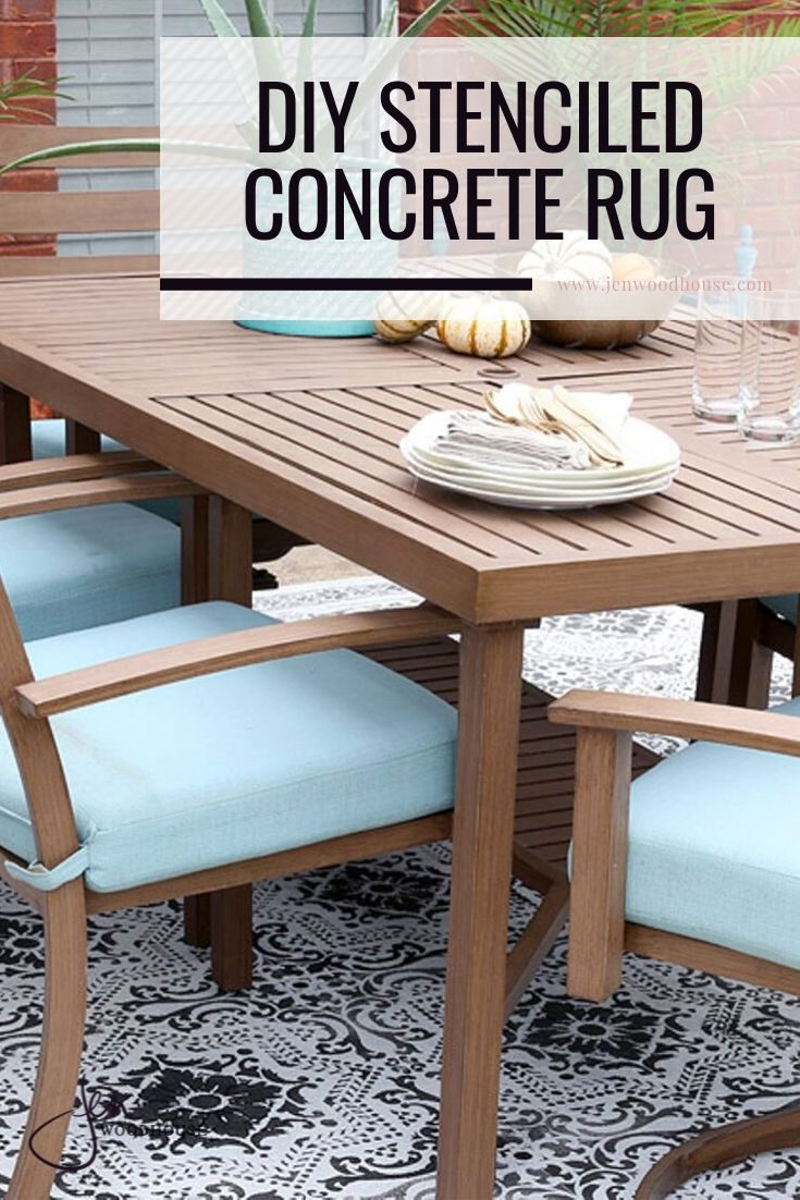 Add charm to your concrete patio with a stenciled concrete rug! | Jen Woodhouse #DIY #patio