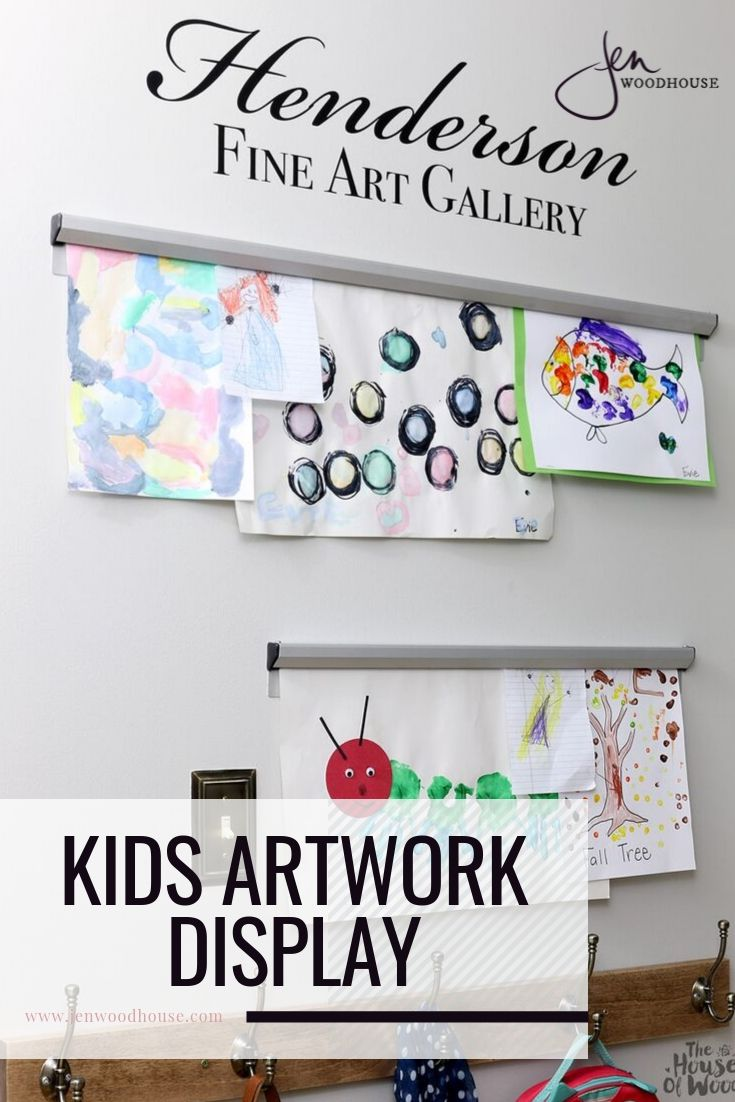 Need a place to display all the kiddos' artwork? Check out this DIY artwork display from Jen Woodhouse | #jenwoodhouse #artdisplay #DIY