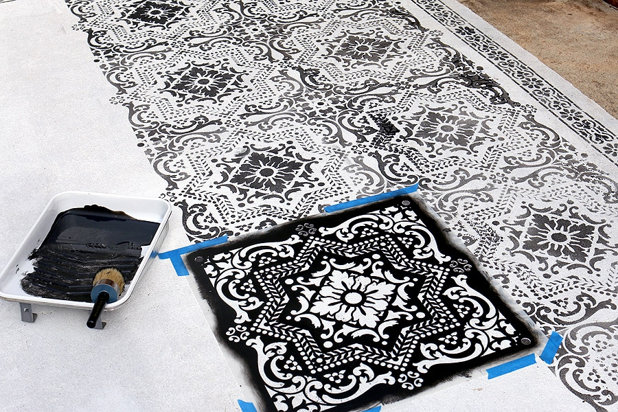 diy stenciled concrete rug. Black Bedroom Furniture Sets. Home Design Ideas