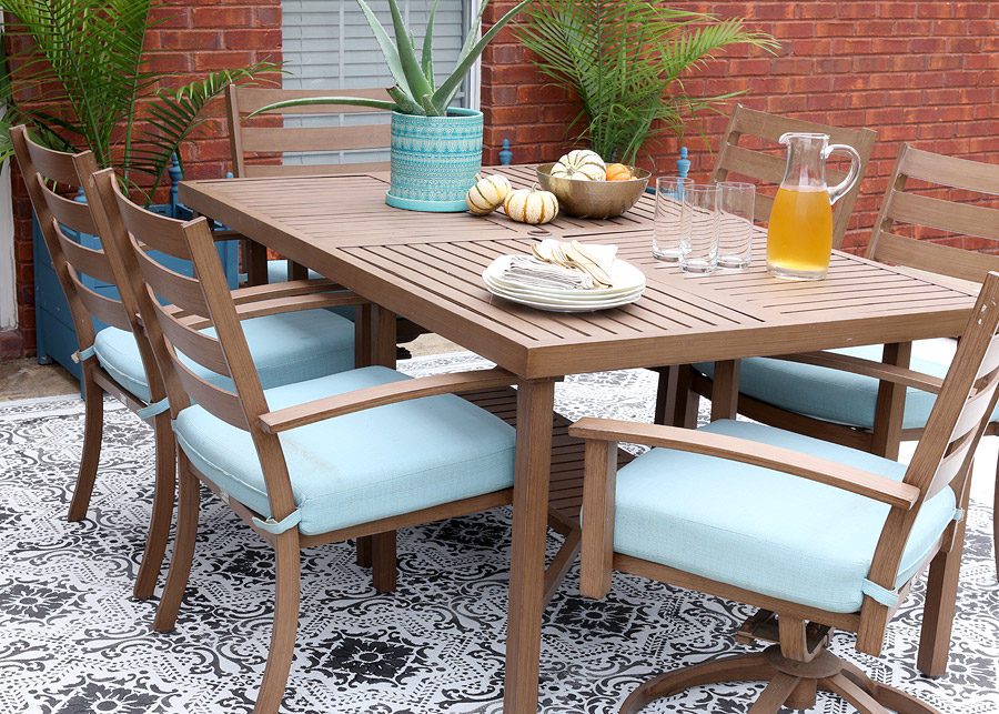 How To Use Stencils And Concrete Stain To Create A Faux Rug For Your Outdoor  Patio