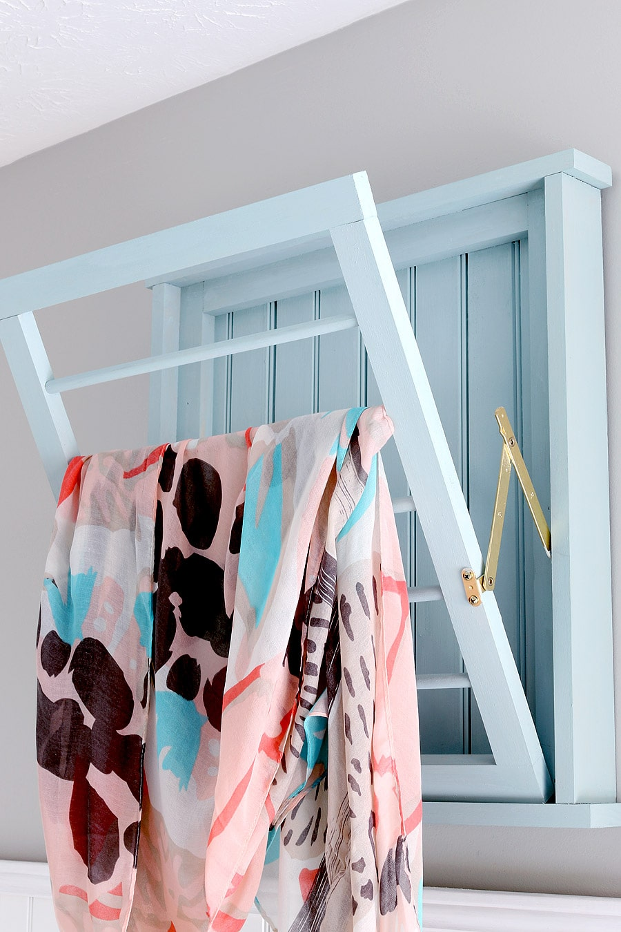 How to build a DIY bead board laundry drying rack inspired by Ballard Designs via Jen Woodhouse