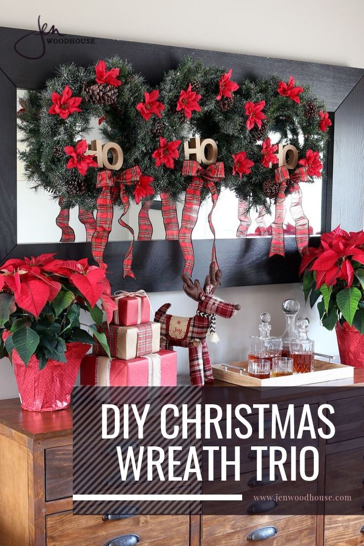 Add Holiday charm to your home with this DIY Christmas Wreath Trio | Jen Woodhouse #jenwoodhouse #christmasdecor #holidayhome