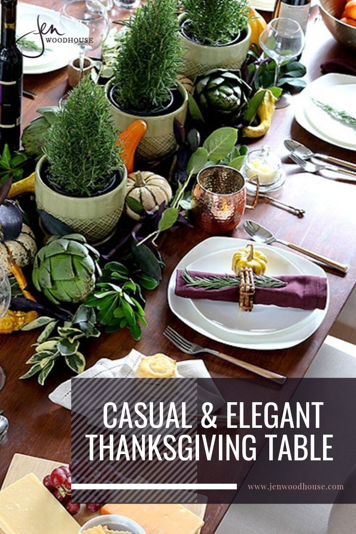 Jen Woodhouse created wanted a casual yet elegant atmospherewith this table setting | Fall tablescape | Thanksgiving tablescape | #jenwoodhouse #thanksgivingtable #falltablescape