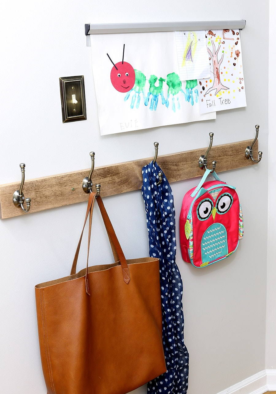 Use coat hooks to keep kids backpacks, coats, and scarves neat and organized