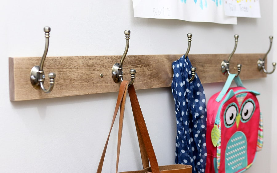 Keep kids school bags neat and tidy with coat hooks