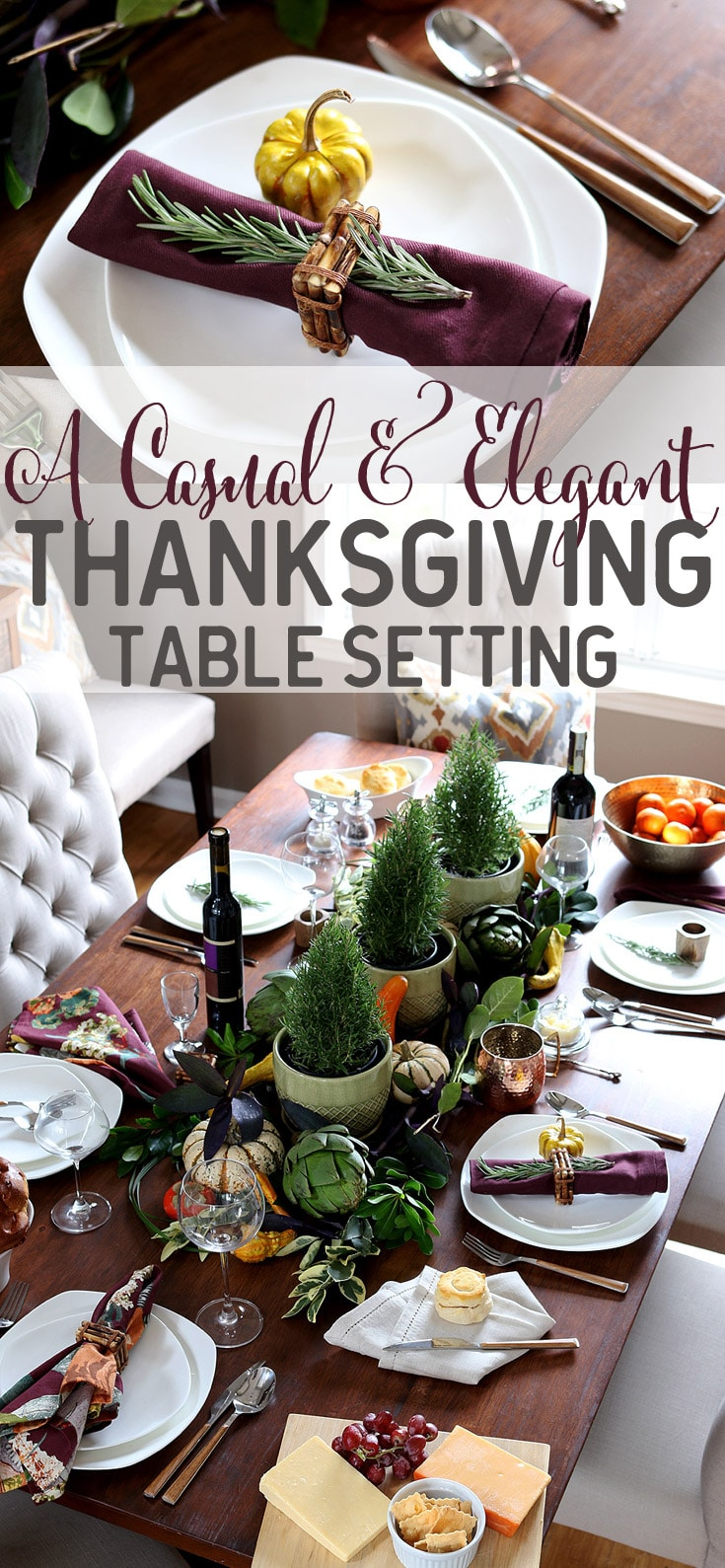 A casual yet elegant Thanksgiving table setting via Jen Woodhouse