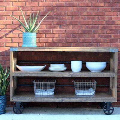 Industrial Wood & Steel Console