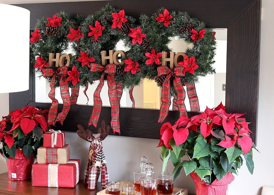 Home Depot DIY Workshop hanging holiday wreath trio