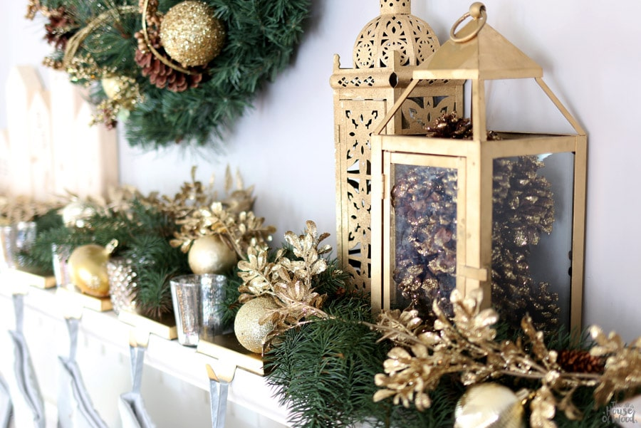 How to decorate a mantel for Christmas via Jen Woodhouse