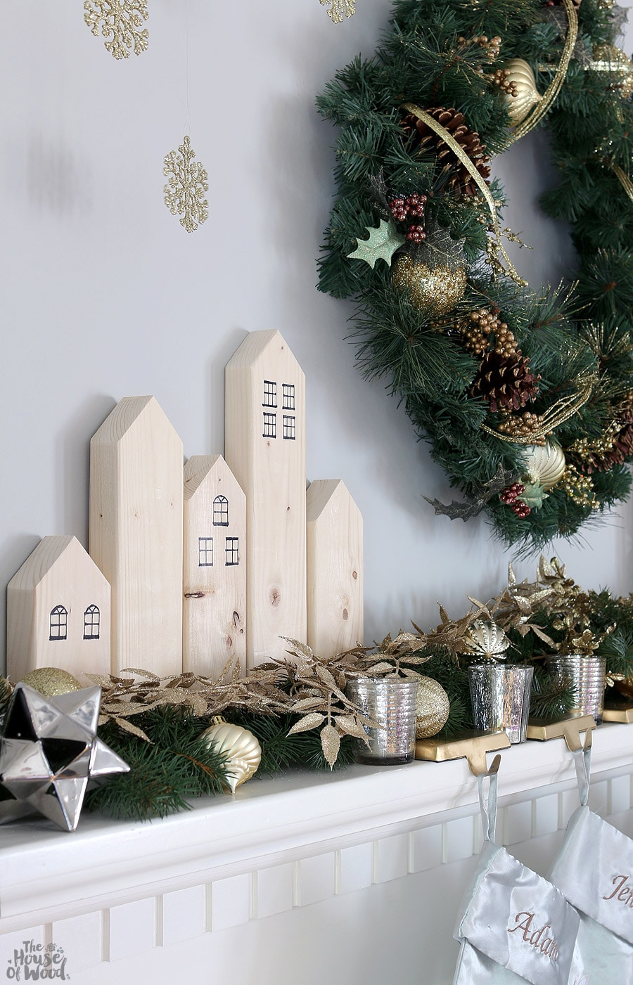 Christmas mantel with scrap wood village via Jen Woodhouse