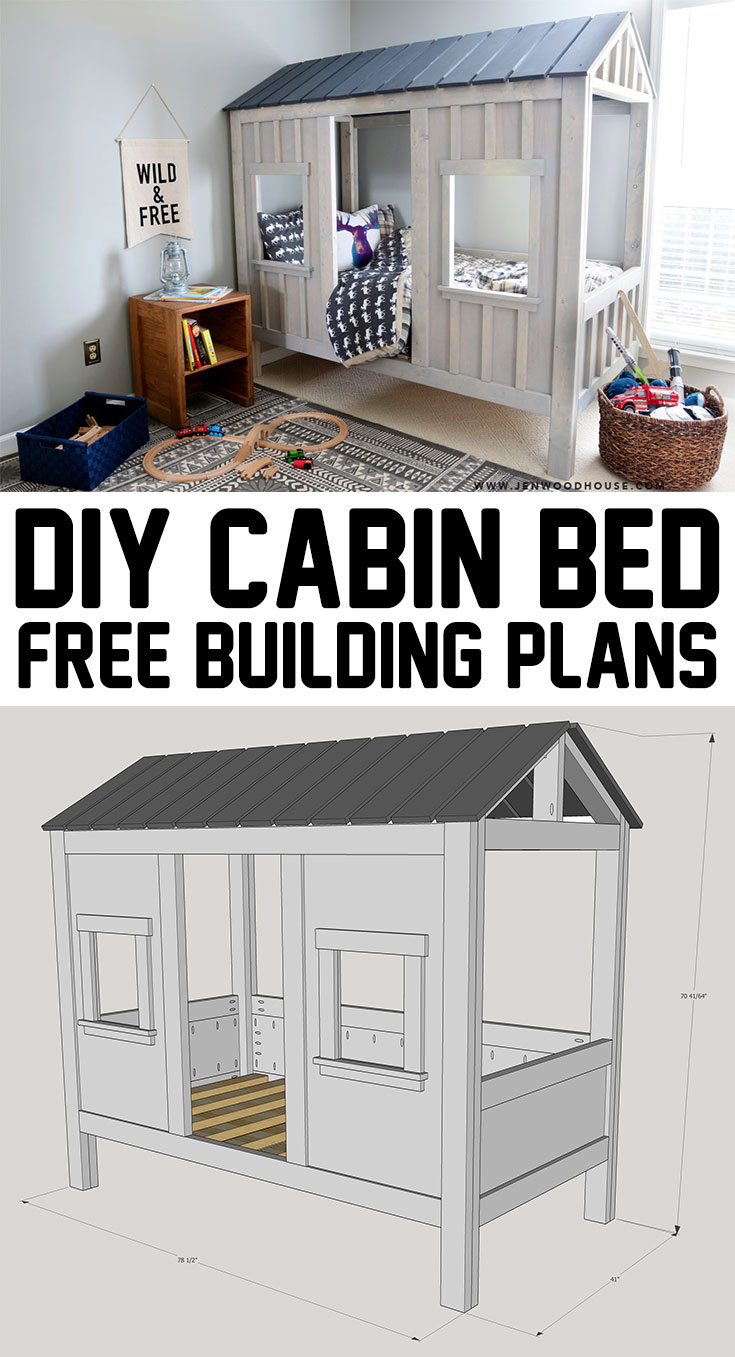 Diy cabin bed the house of wood for Diy house plans