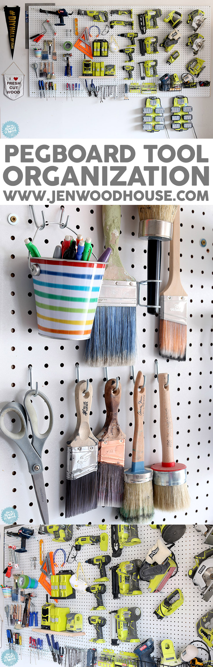 How to organize the tools in your garage using pegboard via Jen Woodhouse