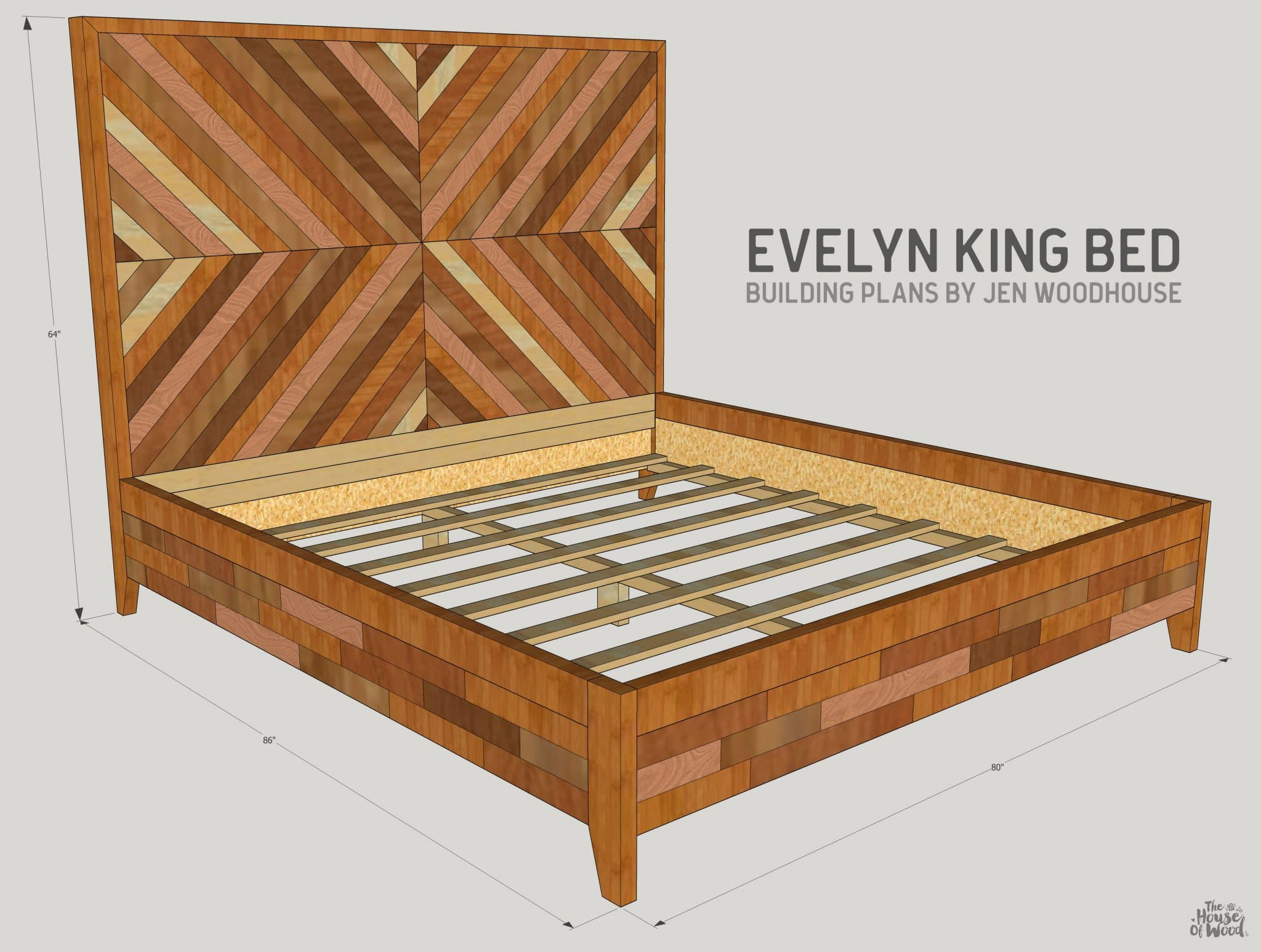 Diy west elm alexa chevron bed for House frame floor bed plans
