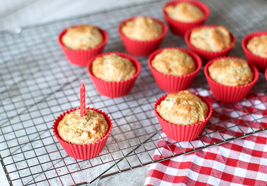 Treat your favorite fur baby to these homemade apple and cheddar pupcakes!