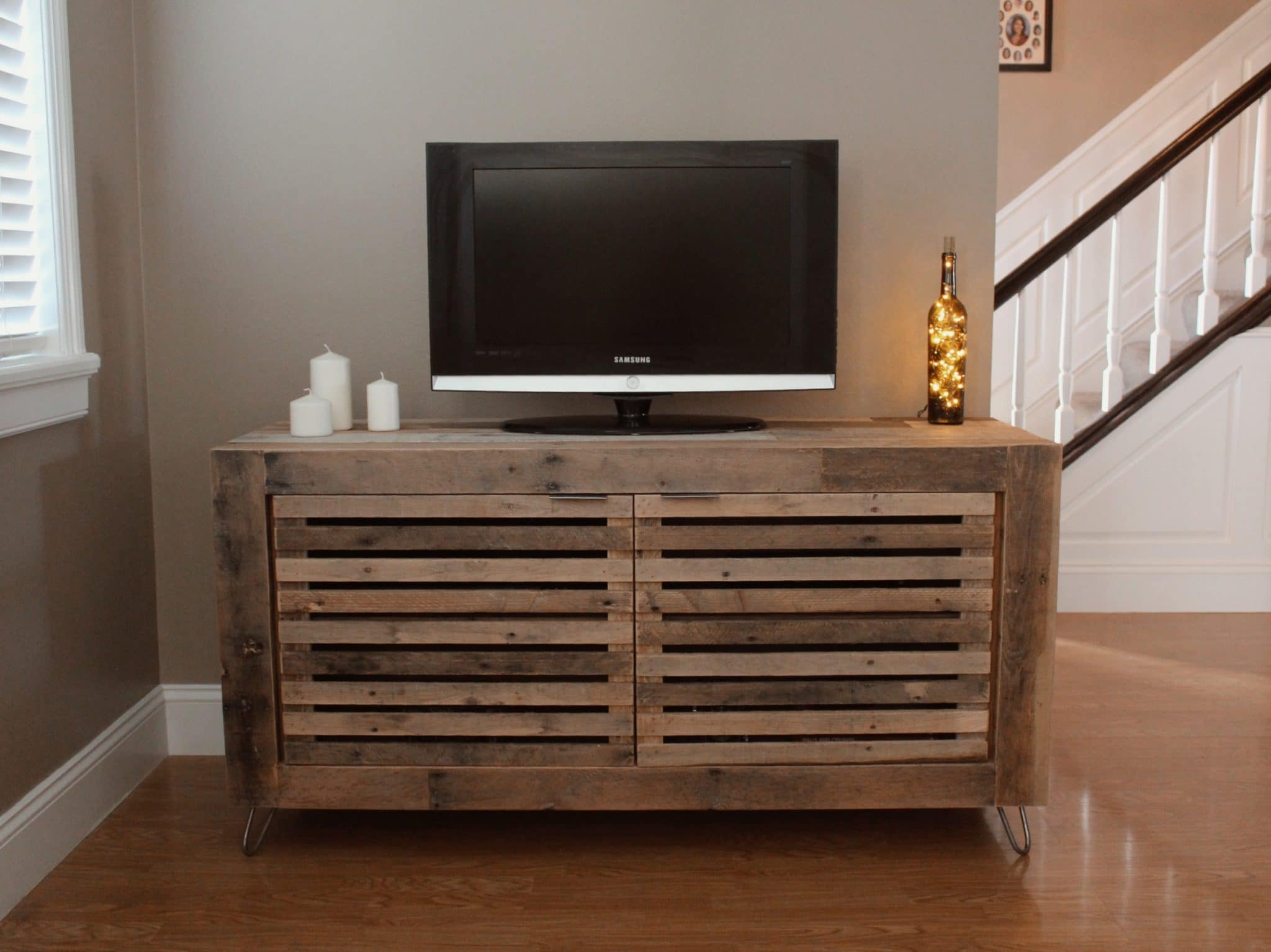 Reclaimed wood media console by Timber and Soul