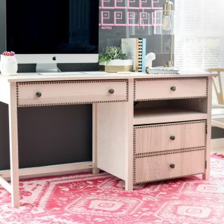 How to build a DIY desk with hideaway printer storage