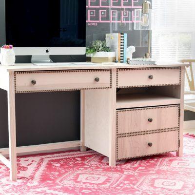 Desk with Hidden Printer Cabinet