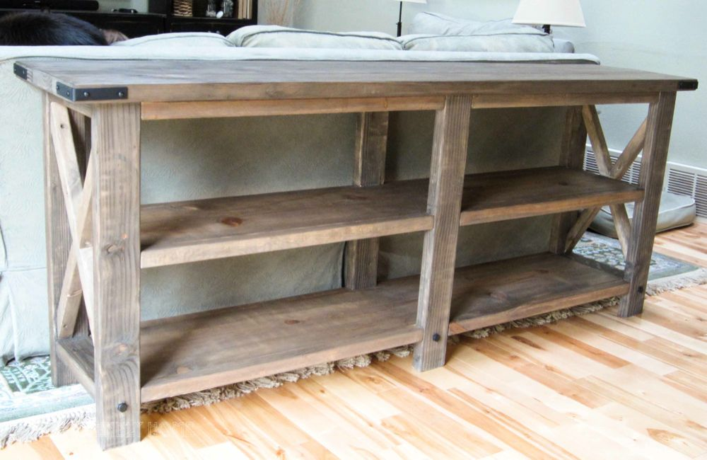 DIY Rustic X Console by The Friendly Home