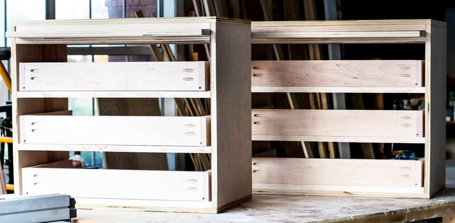DIY Ballard Designs-inspired Nightstands with charging station. Free building plans!