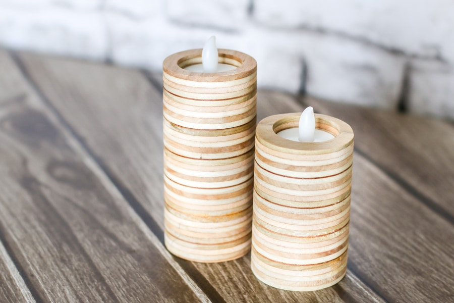 LOVE this! How to make DIY tea light candleholders out of scrap plywood!