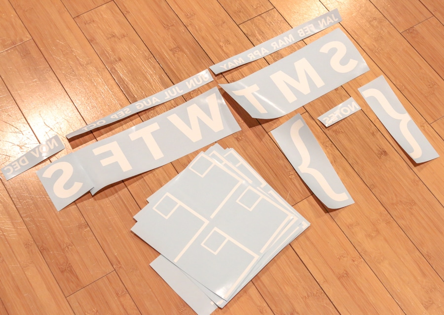 Acrylic wall calendar adhesive vinyl mirrored design
