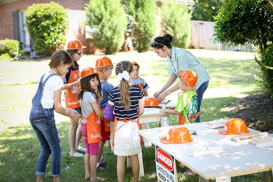 Host a fun construction-themed kids party with Home Depot workshop building kits!