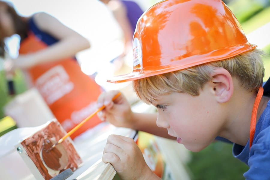 Host a fun building party for the kids! These building workshop kits are sold online at Home Depot!