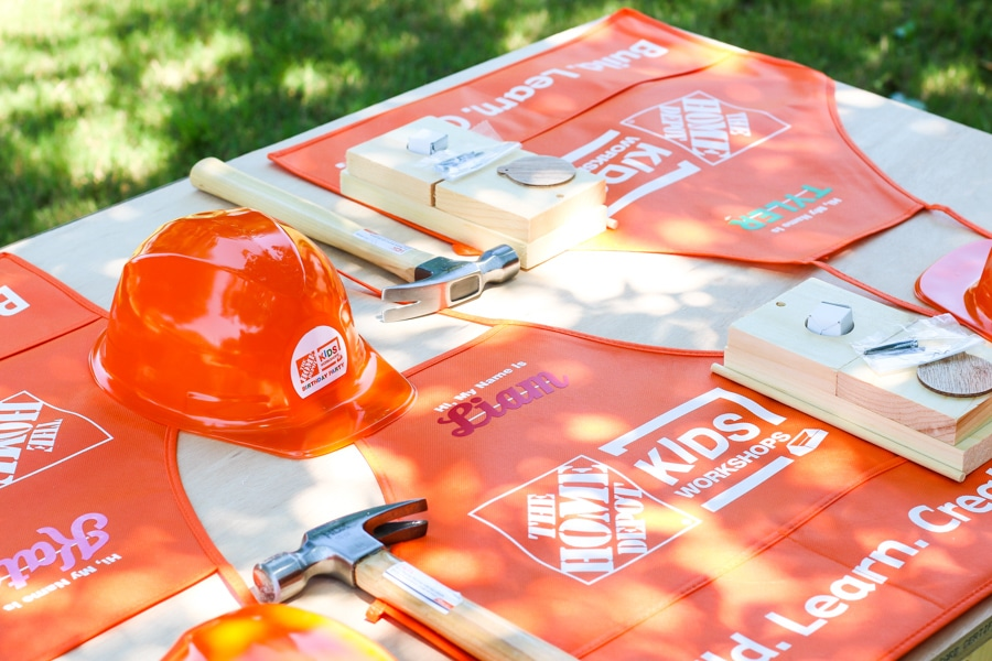 Party supplies and kids workshop kits are sold on HomeDepot.com - perfect for a construction-themed/building kids party!