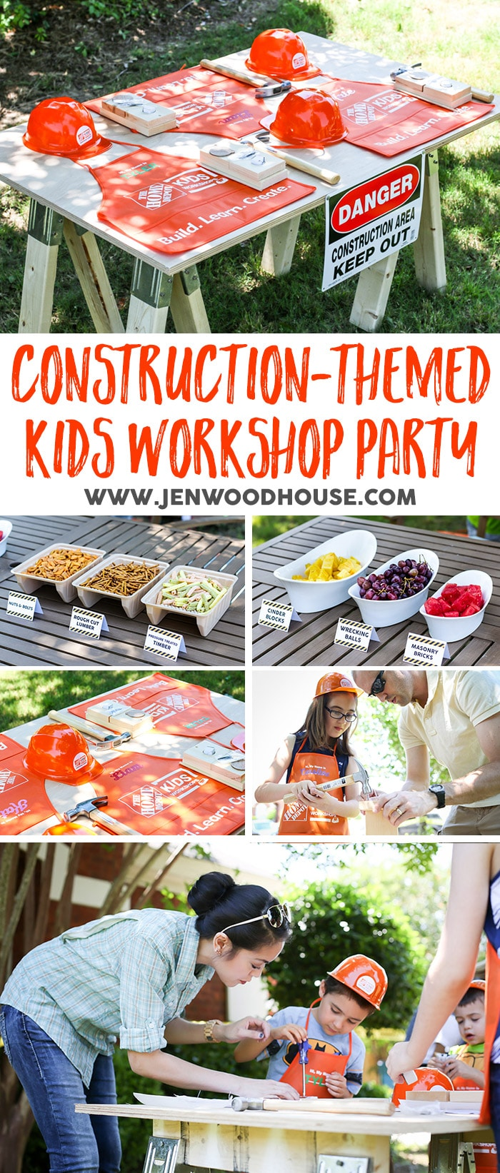 Host a fun construction-themed kids workshop party where the kids can build things! Workshop kits sold at HomeDepot.com