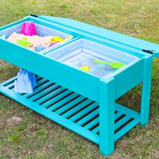 Learn how to make a fun DIY sand and water table for your kiddos! The perfect summer project that keeps your little ones playing outside. Free building plans by Jen Woodhouse