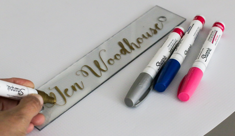 How to make a desk name plate with Sharpie oil-based paint pens