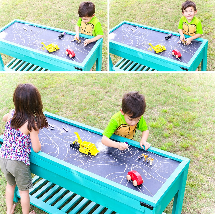 How to build a DIY sand and water table. Free building plans by Jen Woodhouse