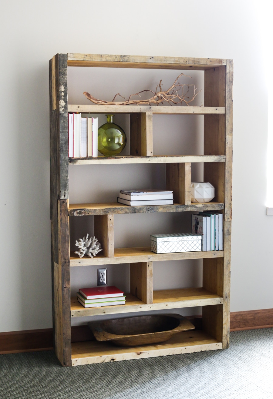 of this bookshelf then used the pallet wood to wrap the bookshelf