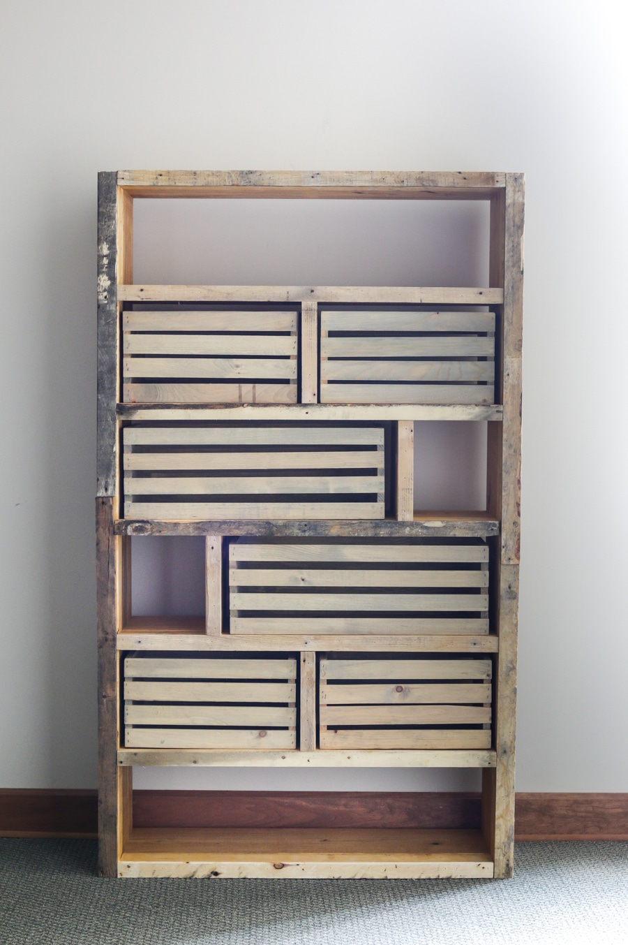 Pallet Bookshelf With Crates