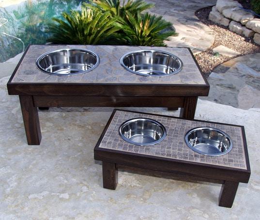 Tile Topped Dog Bowls