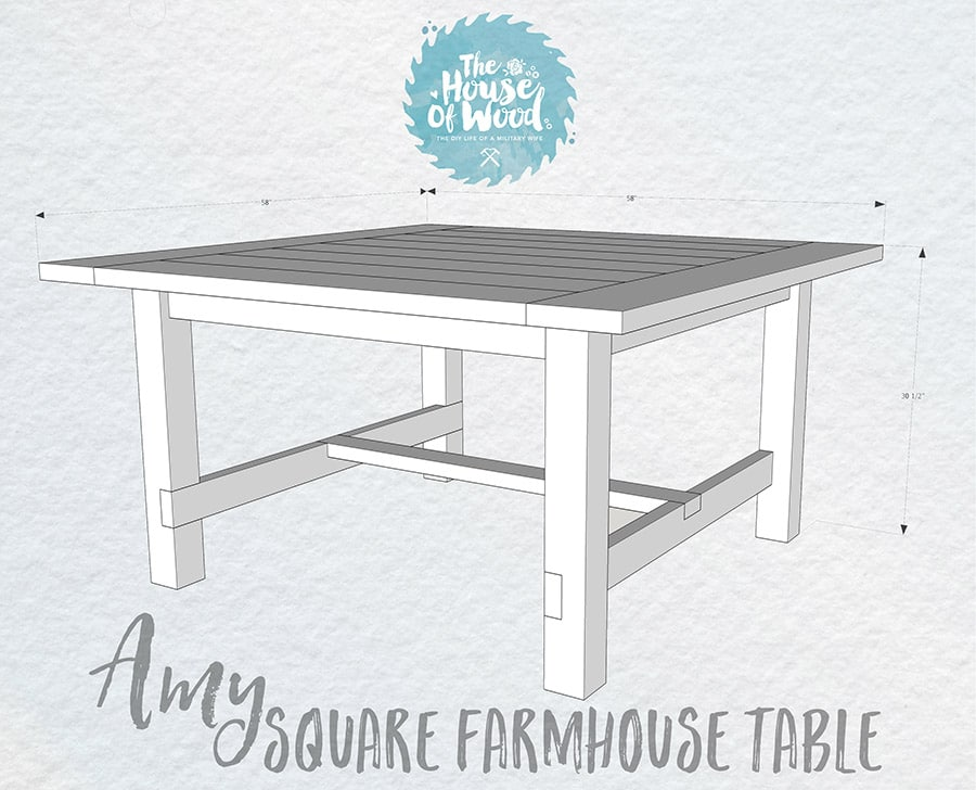Farmhouse Kitchen Table Square how to build a diy square farmhouse table plans