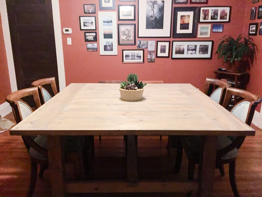 How to build a DIY square farmhouse table - free building plans by Jen Woodhouse
