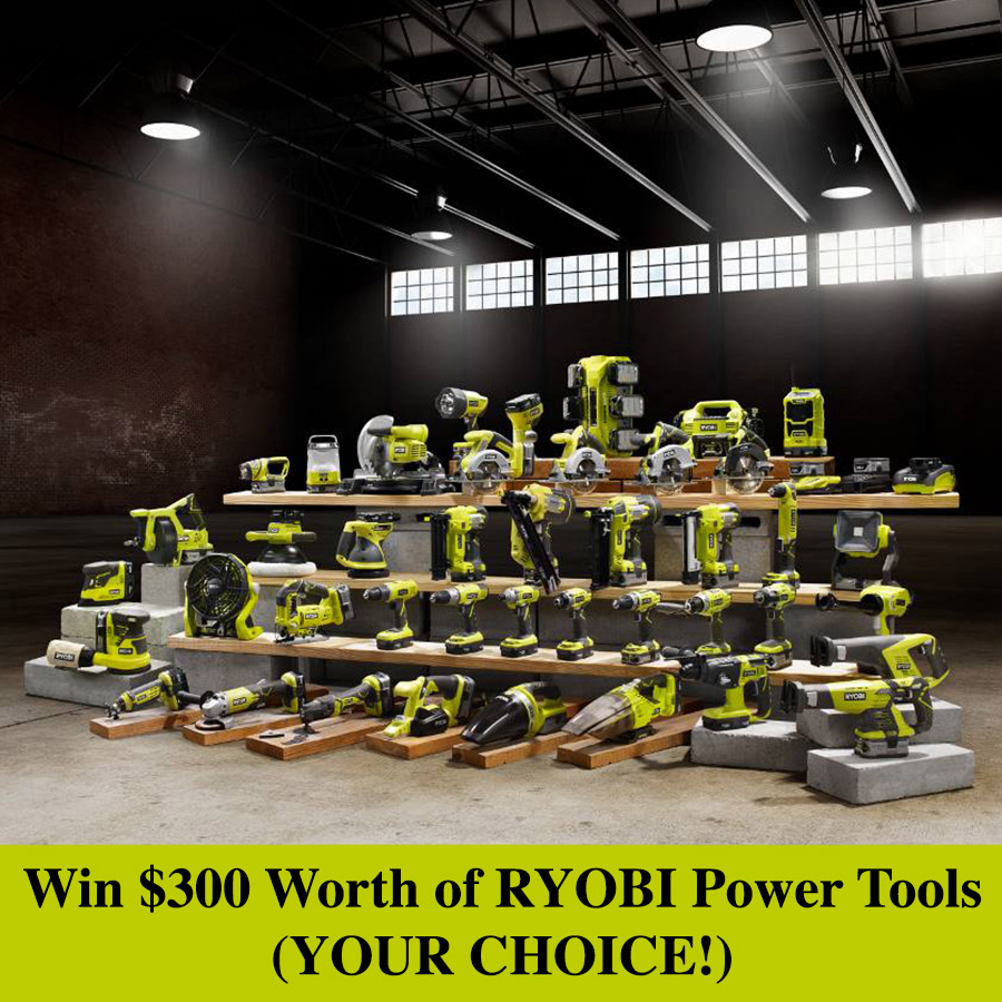 Win $300 worth of RYOBI Power Tools - enter once a day for a chance to win this awesome giveaway!