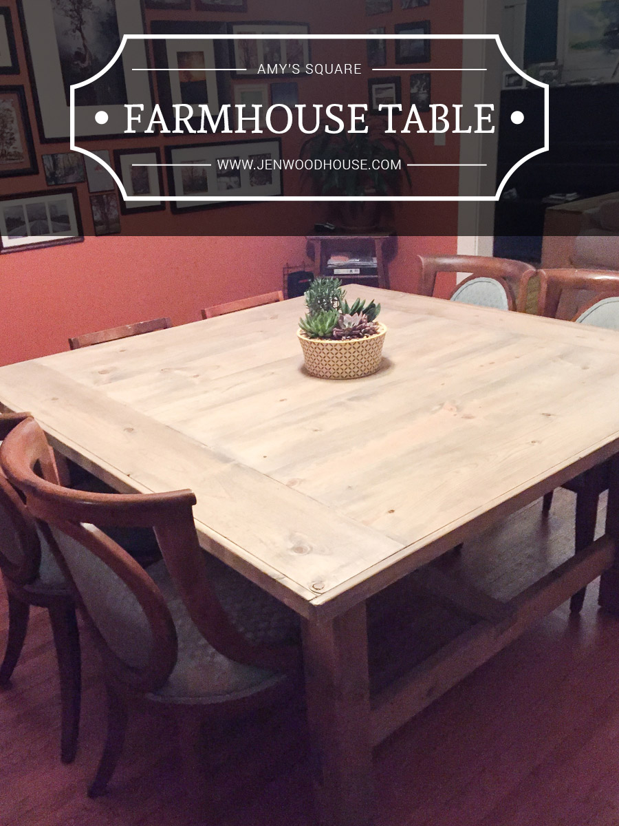 How to build a diy square farmhouse table plans for Square dining table designs