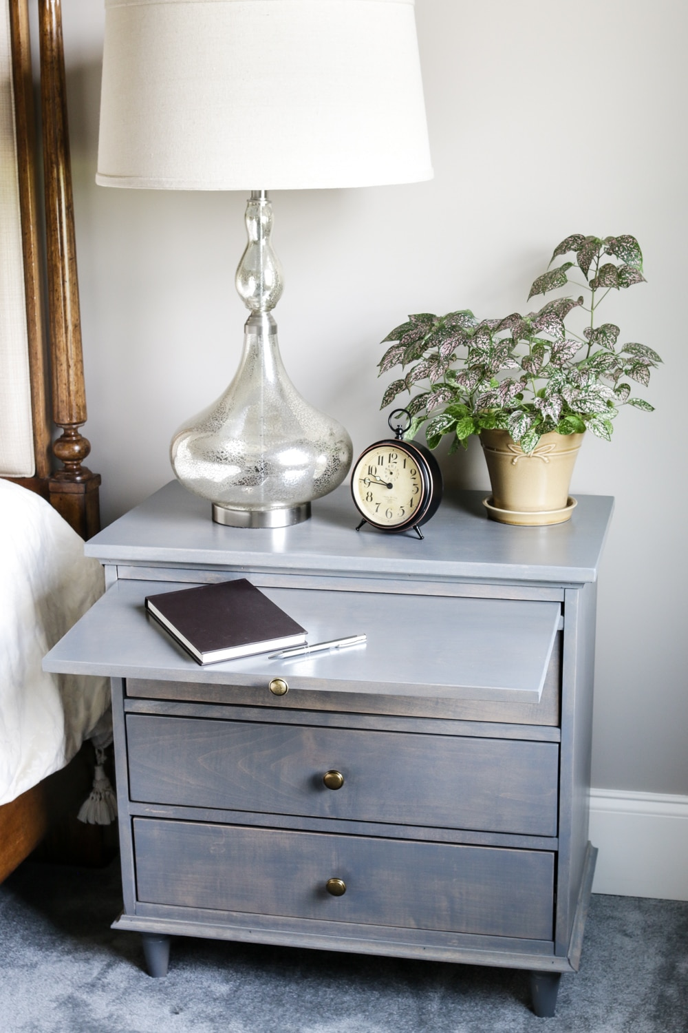 nightstand w charging station pullout writing tray diy nightstand plans. Black Bedroom Furniture Sets. Home Design Ideas