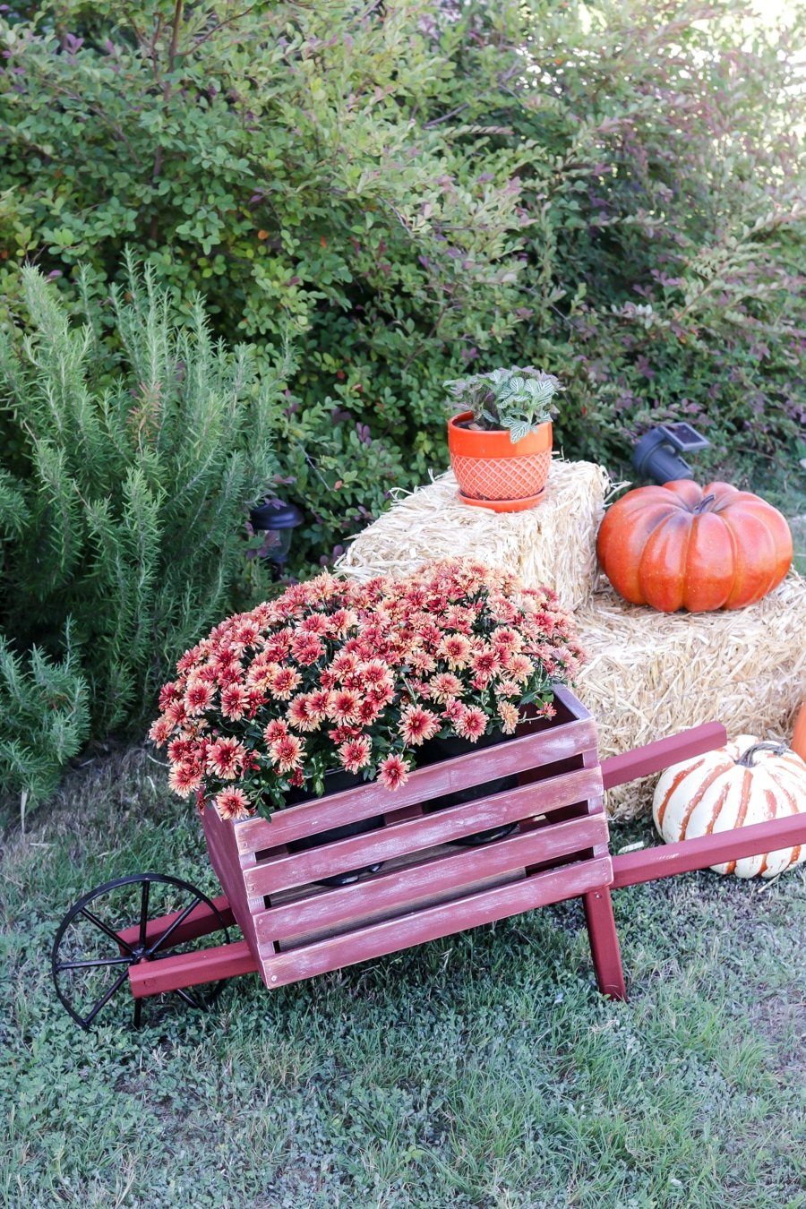 How to tutorial build a diy rustic wheelbarrow for fall for Rustic outdoor decorating