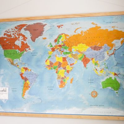 Homeschool Room World Map with Magnetic Frame
