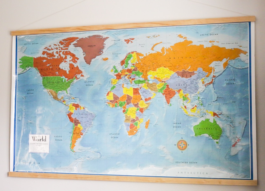 Diy homeschool world map with magnetic frame how to hang a world map with a magnetic frame gumiabroncs Image collections