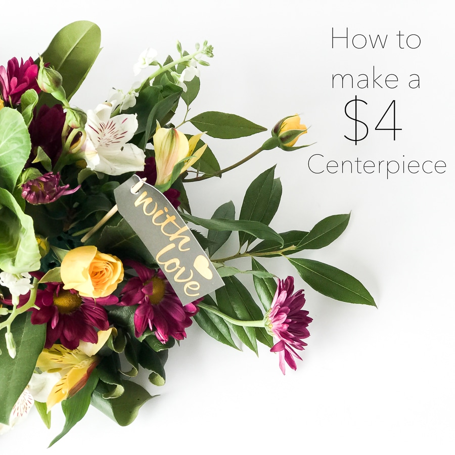 How to make a beautiful centerpiece with a $4 grocery store bouquet!