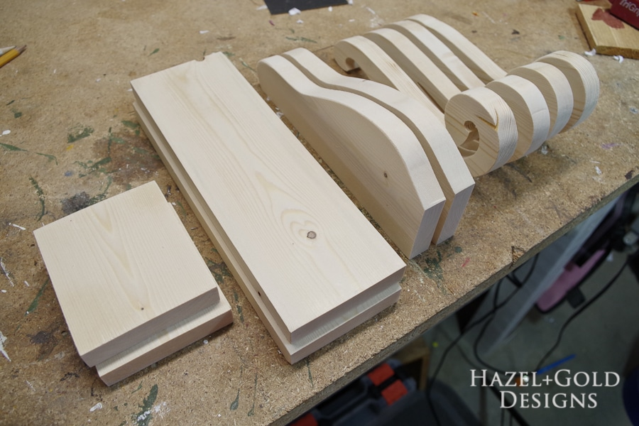 DIY Decorative Wooden Bookends- cut enough pieces to make two