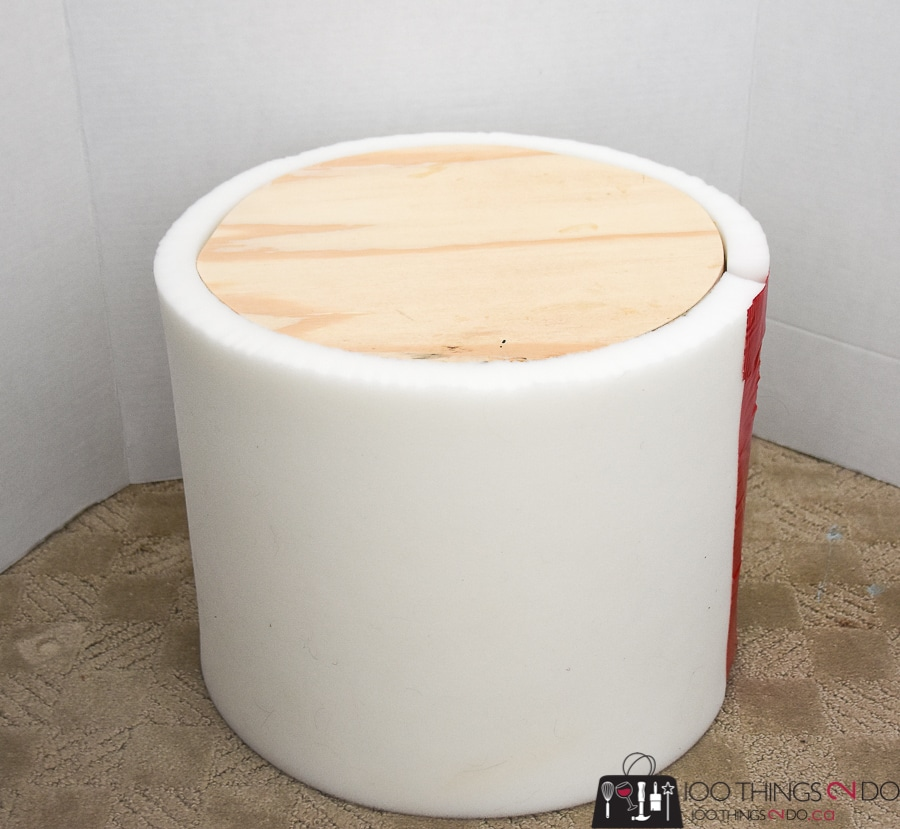 Make your own ottoman, DIY ottoman, DIY footstool, round foot stool, round ottoman, upholstered ottoman, upholstered footstool