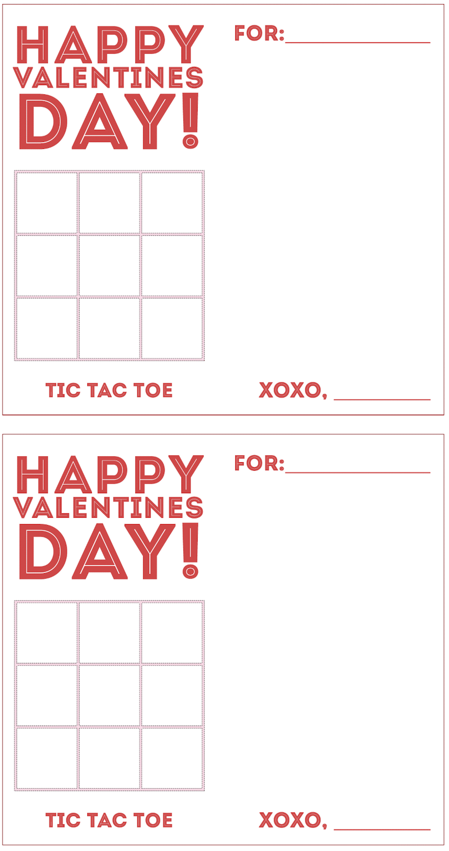 Make these Tic Tac Toe Valentine's Day Cards - great kids craft!