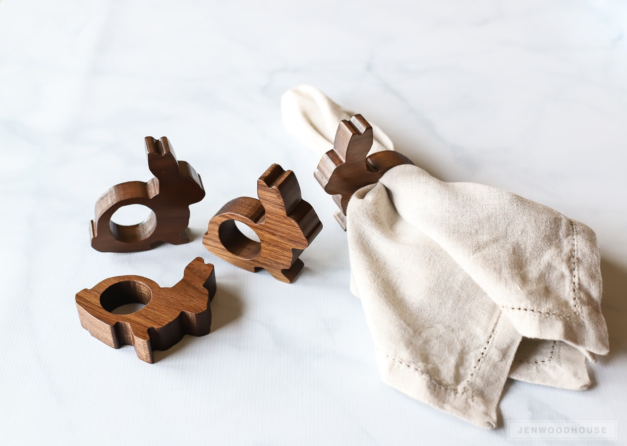 Perfect for a Spring table - DIY wood bunny napkin rings