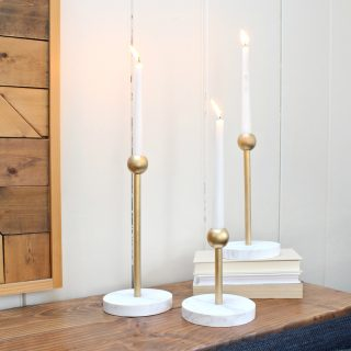 How to make DIY modern faux marble and brass candleholders